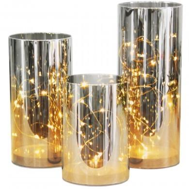 Szklana tuba LED wazon ze światełkami - 3 szt zestaw
